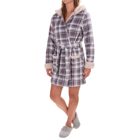 Artisan NY Plush Holiday Plaid Fox Robe - Long Sleeve (For Women)