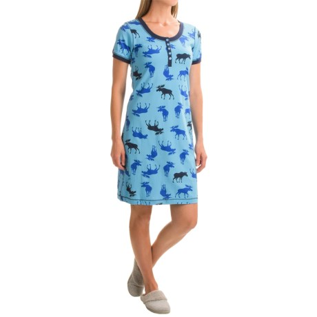 Little Blue House Moose Print Nightshirt - Short Sleeve (For Women)