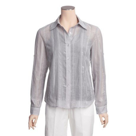 Lafayette 148 New York Shimmer Stripe Shirt - Long Button-Up Sleeve (For Women)