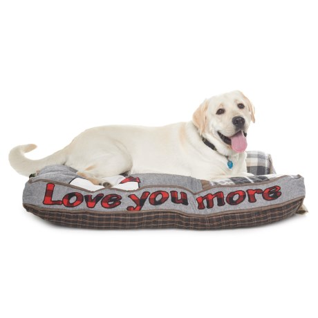 "Telluride Dog Saying Plaid Rectangle Dog Bed - 40x28"""