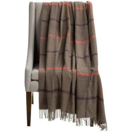 "Abraham Moon & Sons Bronte by Moon Windowpane Brown Wool Throw Blanket - 55x72"""