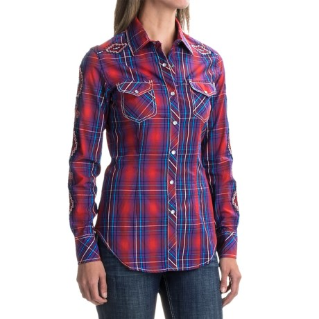 Rock & Roll Cowgirl Embroidered Plaid Shirt - Snap Front, Long Sleeve (For Women)