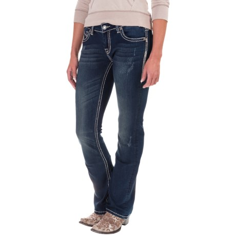 Rock & Roll Cowgirl Rival Leather V-Pocket Jeans - Low Rise, Bootcut (For Women)