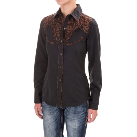 Panhandle Slim Retro Embroidered Western Shirt - Snap Front (For Women)