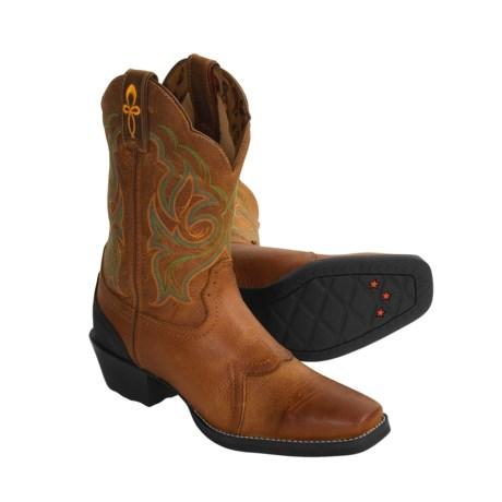 Tony Lama Star Cowboy Boots - Square Toe, Saddle Vamp (For Women)
