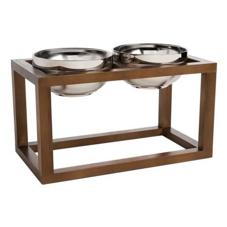 "Doghaus Wood Frame Elevated Dog Bowls - 3-Piece, 6"""