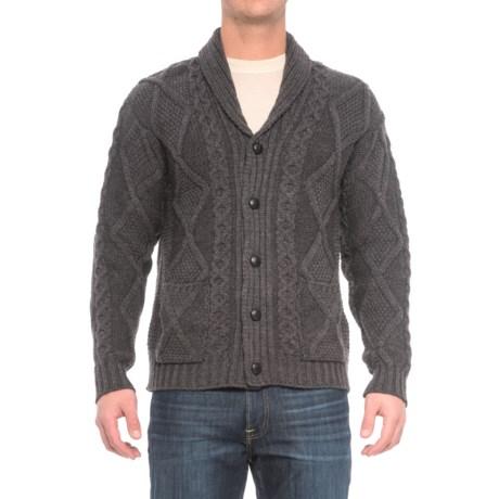 Inis Crafts Aran Pattern Button Shawl Cardigan Sweater - Merino Wool (For Men)
