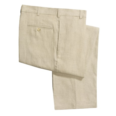 Berle Solid Linen Pants - Flat Front (For Men)