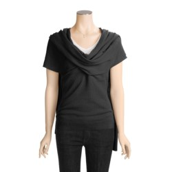 Kinross Cashmere Pullover Sweater - Wrap Front, Short Sleeve (For Women)