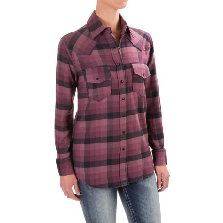 Cruel Girl Twill Plaid Boyfriend-Fit Shirt - Snap Front, Long Sleeve (For Women)