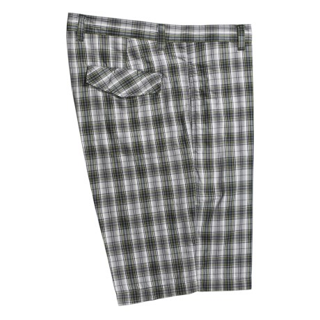 Linea Rosso Plaid Shorts - Cotton, Flat Front (For Men)