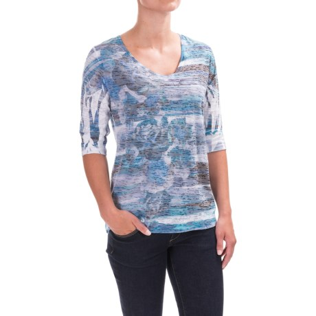 Ojai Burnout Printed Shirt - Relaxed Fit, Elbow Sleeve (For Women)