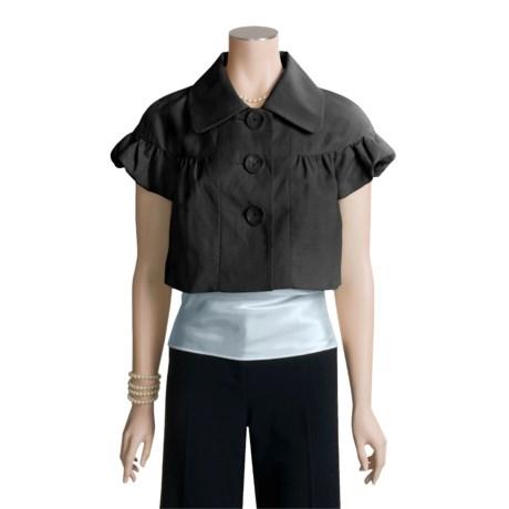 Axcess by Liz Claiborne Short Puff Sleeve Jacket - Linen-Rich (For Women)