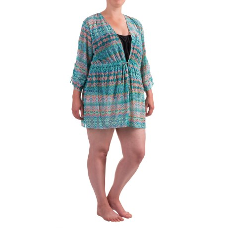Seekers Contour Print Kaftan Plus Size Swimsuit Cover-Up - 3/4 Sleeve (For Women)