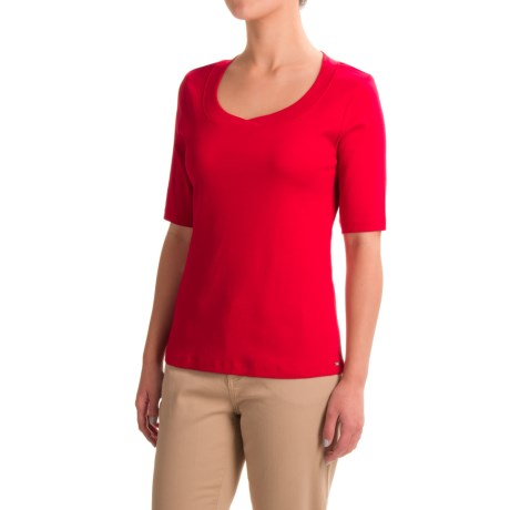 FDJ French Dressing Jersey Scoop Neck Shirt - Short Sleeve (For Women)