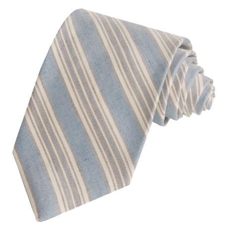 Altea Woven Stripe Tie - Silk-Linen (For Men)