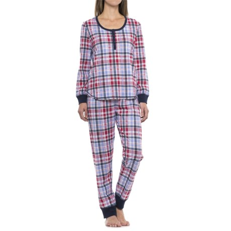 Karen Neuburger Karen Neuberger Live Love Lounge Henley Shirt and Joggers Pajamas - Long Sleeve (For Women)