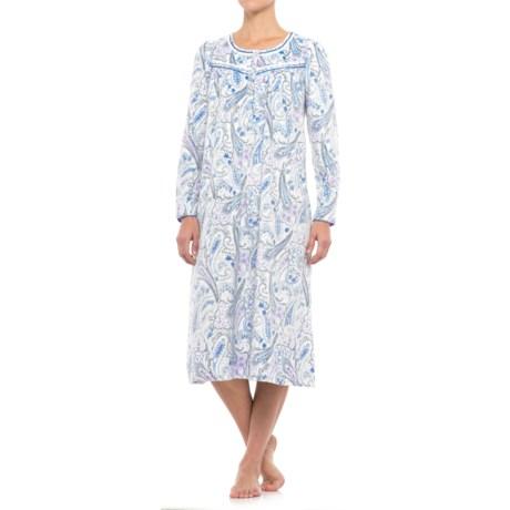 Aria Microfleece Ballet Nightgown - Button Neck, Long Sleeve (For Women)