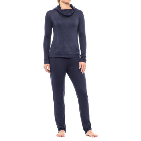 Nicole Miller Cozy Drape Neck Pajamas - Long Sleeve (For Women)