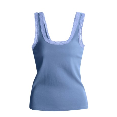 Blue Canoe Ribbed Lace Tank Top - Organic Cotton (For Women)
