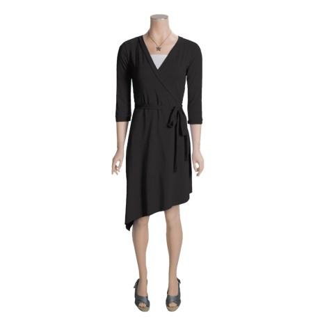 Blue Canoe Wrap Dress - 3/4 Sleeve (For Women)
