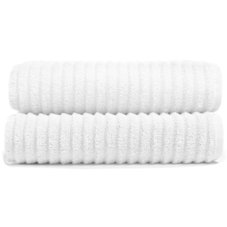 Melange Home Ribbed Bath Towels - 2-Piece Set, Turkish Cotton