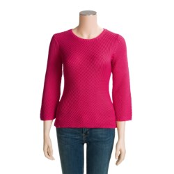 Madison Hill Cotton Textured Sweater - 3/4 Sleeve (For Women)