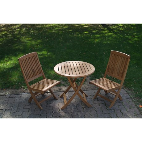 Three Birds Casual Teak Folding Dining Set - 3-Piece, Folding
