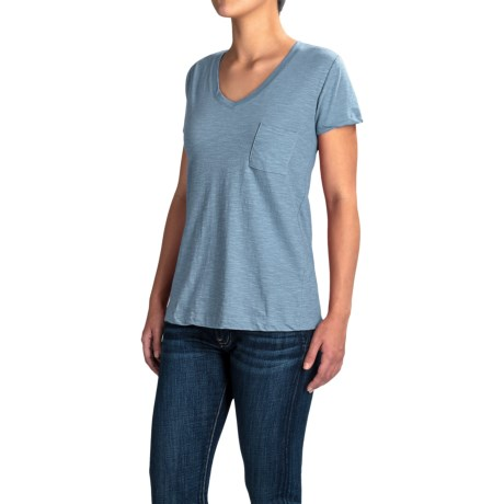 Workshop Republic Clothing V-Neck Pocket Shirt - Short Sleeve (For Women)