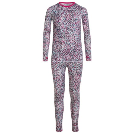 Cuddl Duds Printed Comfortech® Poly Base Layer Top and Pants Set - Long Sleeve (For Little and Big Girls) in White Multi - Closeouts