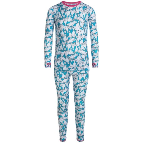 Cuddl Duds Printed Comfortech® Poly Base Layer Top and Pants Set - Long Sleeve (For Little and Big Girls)