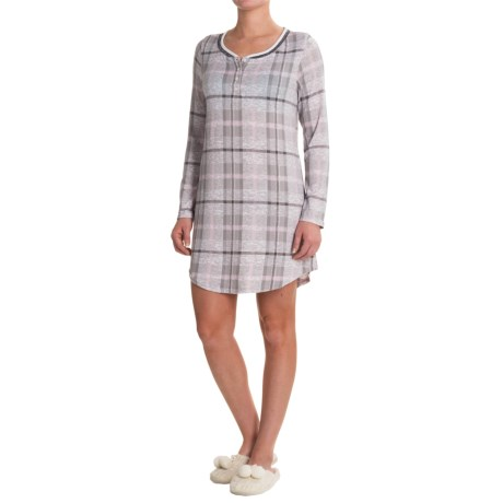 Laura Ashley Henley Sleep Shirt - Long Sleeve (For Women)