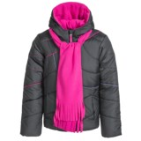 Pacific Trail Puffer Jacket - Matching Scarf, Insulated (For Little and Big Girls)