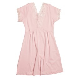Cotn & Lu Pima Cotton Nightgown - Lace Trim, Short Sleeve (For Women)
