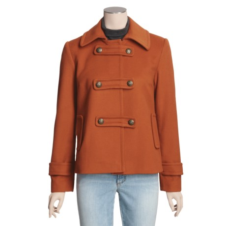 Jonathan Michael Lambswool Pea Coat - Tarnished Buttons (For Women)