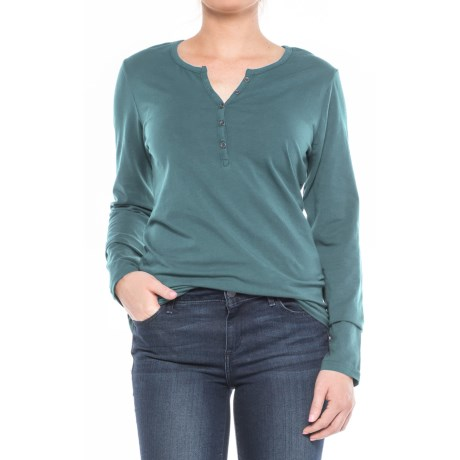 North River Stretch-Cotton Henley Shirt - Long Sleeve (For Women)