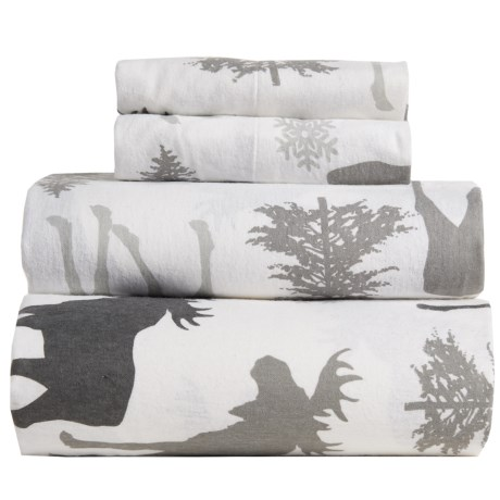 Great Bay Home Stratton Printed Flannel Sheet Set - King