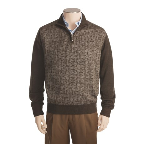 Toscano Merino Wool Sweater - Zip Neck, Geometric Diamond  (For Men and Women)