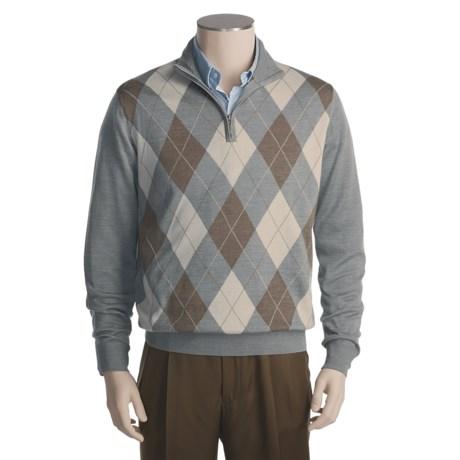Toscano Merino Wool Argyle Sweater - Zip Neck (For Men)