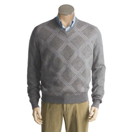 Toscano Argyle Sweater - Lambswool, V-Neck (For Men)