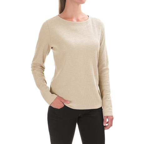 Lilla P Waffled Boat Neck Shirt - Long Sleeve (For Women)