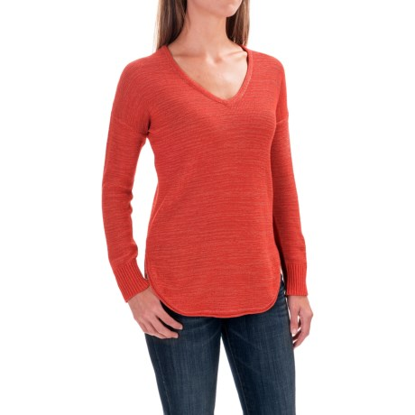 Lilla P Slub Tape Yarn V-Neck Sweater (For Women)