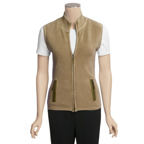 Tyler Boe Knit Vest - Acid Wash Cotton, Double Zip (For Women)