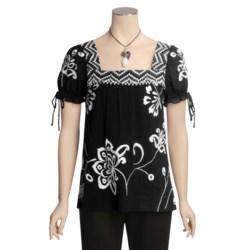 Tyler Boe Embroidered Gauze Shirt - Square Neck, Short Sleeve (For Women)