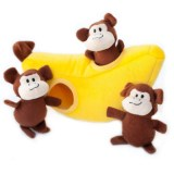 ZippyPaws Zippy Burrow Monkey 'n Banana Dog Toy