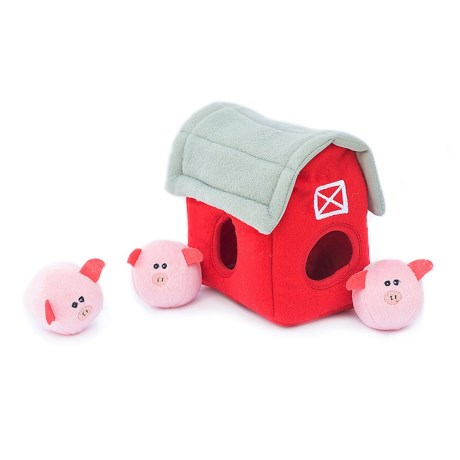 ZippyPaws Zippy Burrow Pig Barn with Bubble Babiez Dog Toy