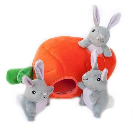 ZippyPaws Zippy Burrow Bunny 'n Carrot Dog Toy