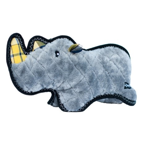 ZippyPaws Z-Stitch Grunterz Ronny the Black Rhino Squeaker Dog Toy