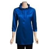 Paperwhite Stretch Silk Tunic Shirt - Ruffle Neck, 3/4 Sleeve (For Women)