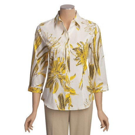 Paperwhite Sateen Print Shirt - Pick-Stitch, 3/4 Sleeve (For Women)
